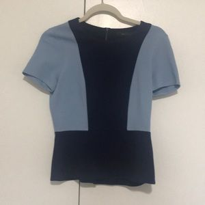 Short sleeve, peplum colorblock BCBG top